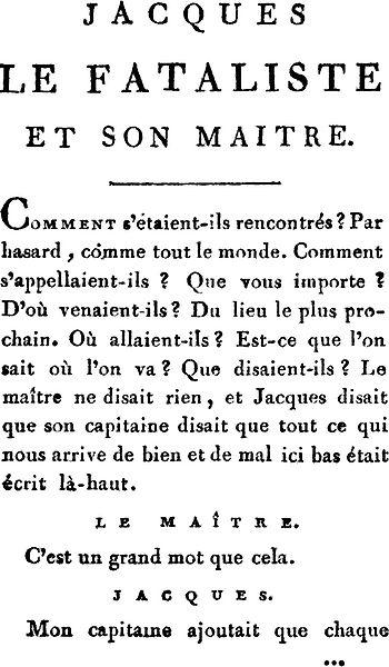 image de l'incipit de la publication originale de 'jacques le fataliste'